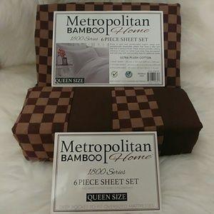 Metropolitan Bamboo Queen Brown Checkered Sheets